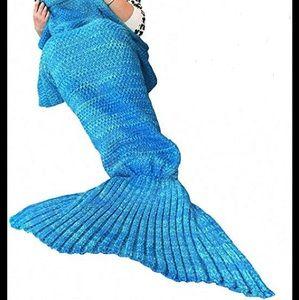 Mermaid Tail Crochet Blue Blanket NEW!